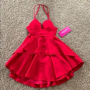 Short Red Strappy Back Dress